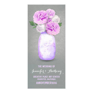 Painted mason jar wedding programs rack card design