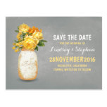 Painted mason jar & yellow flowers save the date postcard