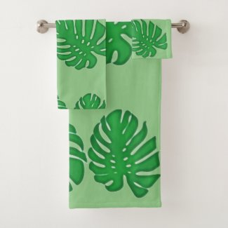 Painted Monstera - tropical green leaves Bath Towel Set