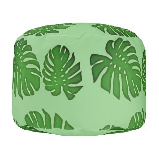 Painted Monstera - tropical green leaves Pouf