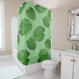 Painted Monstera - tropical leaves pattern Shower Curtain