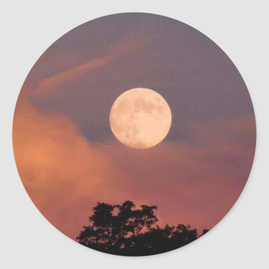 Painted Moon Classic Round Sticker