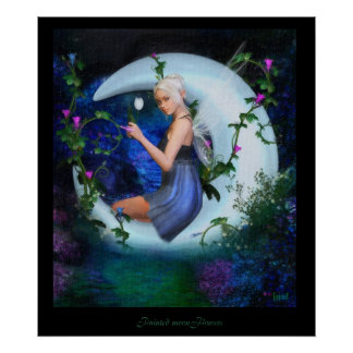 Painted Moonflowers Poster