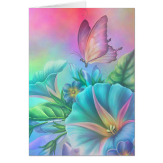 Painted Morning Glories Card