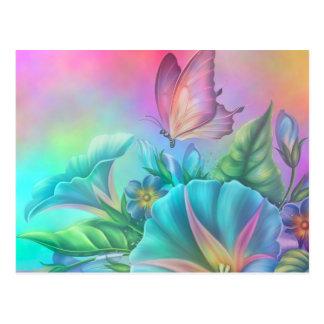 Painted Morning Glories Postcard