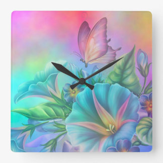 Painted Morning Glories Square Wall Clock