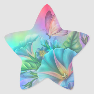Painted Morning Glories Star Sticker