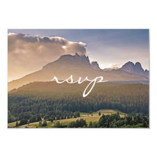 Painted Mountain and Pine Cone Wedding RSVP Card