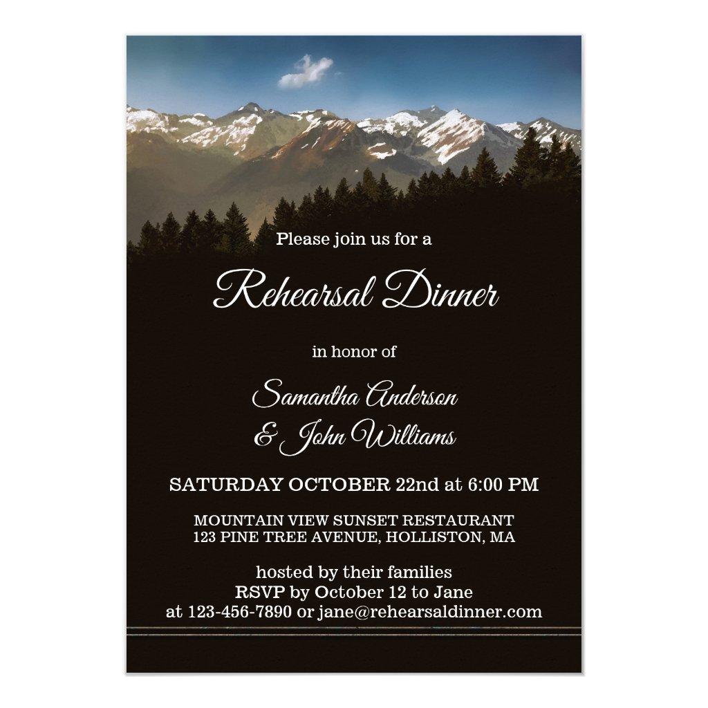 Painted Mountain Trees Rehearsal Dinner Invitation