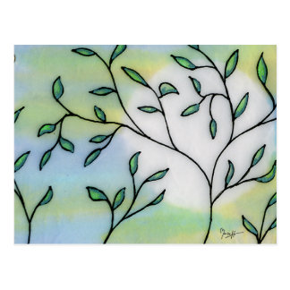 Painted Mulberry Paper Layered with Leaves Postcard