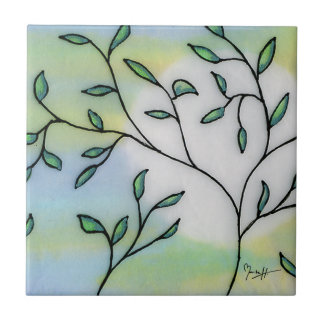 Painted Mulberry Paper Layered with Leaves Tile