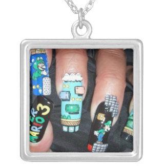 Painted Nails Square Pendant Necklace