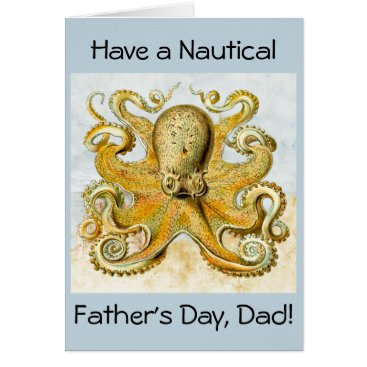 Beach Themed Painted Nautical Octopus Kraken Squid Father's Day Card