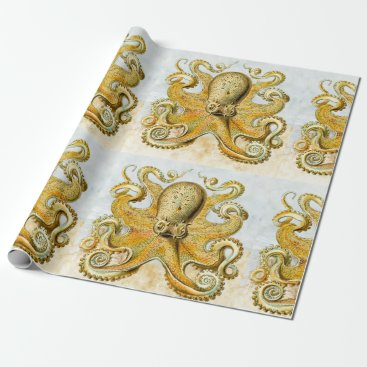 Beach Themed Painted Nautical Octopus Kraken Squid Father's Day Wrapping Paper