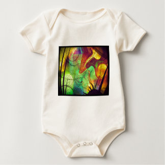 Painted Nebula -Fire Opal Abstract Baby Bodysuit