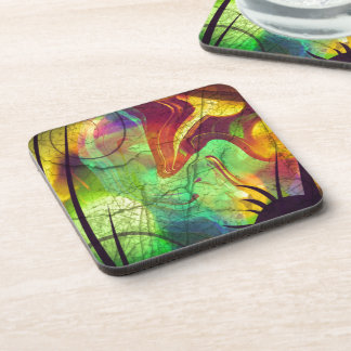Painted Nebula -Fire Opal Abstract Beverage Coasters