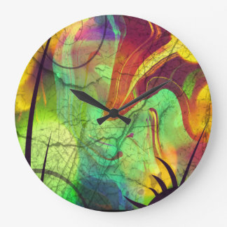 Painted Nebula -Fire Opal Abstract Large Clock
