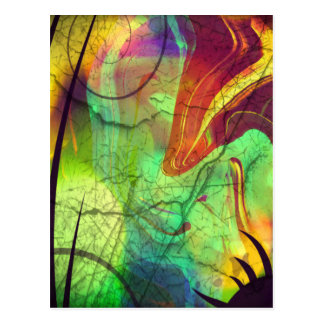 Painted Nebula -Fire Opal Abstract Postcard