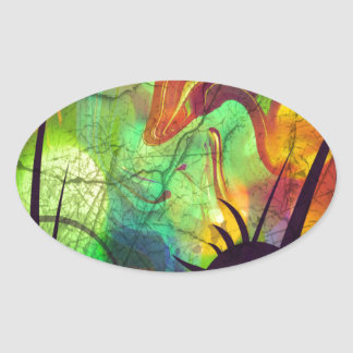 Painted Nebula -Fire Opal Abstract Oval Stickers