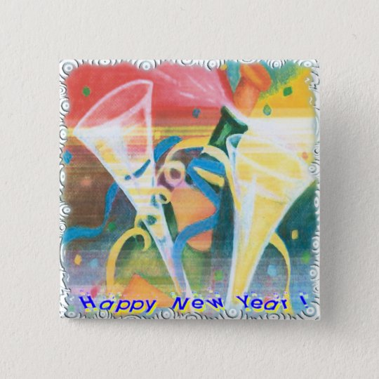 Painted New Year Pinback Button