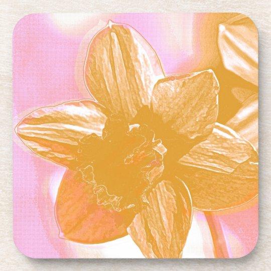 Painted Orange Daffodil Drink Coaster