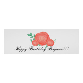 Painted Orange Floral Flowers Party Banner Poster
