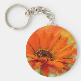Painted Orange Flower Custom Key Chain