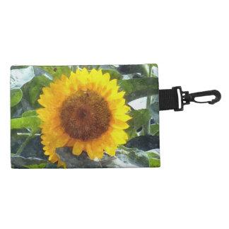 """Painted"" Orange Gold Sunflower Accessories Bag"