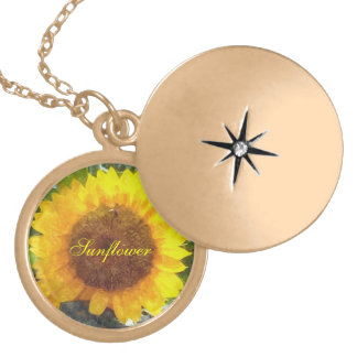 """Painted"" Orange Gold Sunflower Gold Plated Necklace"