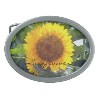 """Painted"" Orange Gold Sunflower Oval Belt Buckle"