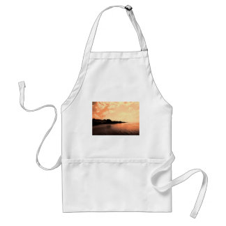 Painted Orange Silhouette Sunset Adult Apron