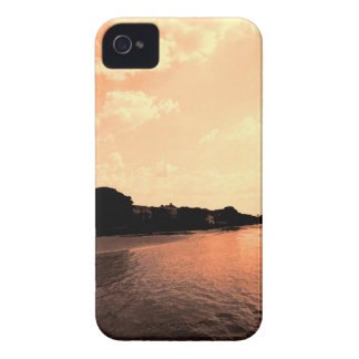 Painted Orange Silhouette Sunset iPhone 4 Case