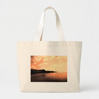 Painted Orange Silhouette Sunset Large Tote Bag