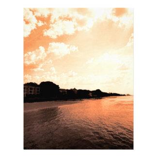 Painted Orange Silhouette Sunset Letterhead