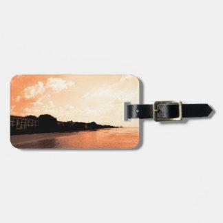 Painted Orange Silhouette Sunset Luggage Tag
