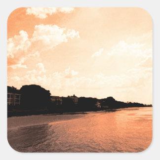 Painted Orange Silhouette Sunset Square Sticker