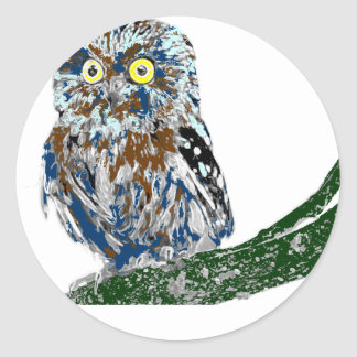 Painted owl classic round sticker