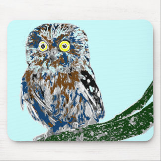 Painted owl mouse pad