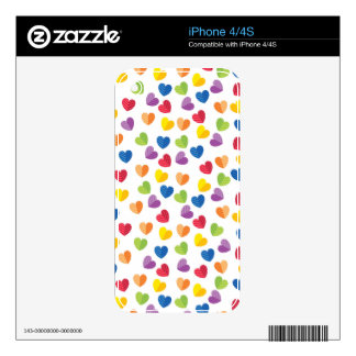 Painted Palette Rainbow Hearts Pattern iPhone 4 Skins