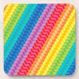 Painted Palette Rainbow Herringbone Pattern Coaster