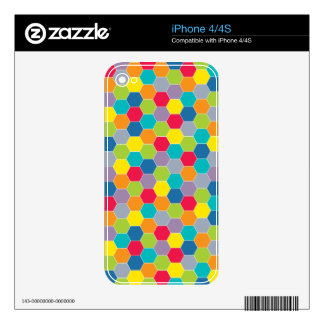 Painted Palette Rainbow Hexagons Pattern iPhone 4S Skin