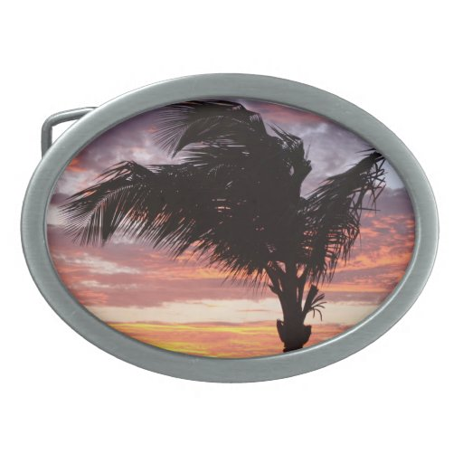 Painted Palm Sunset Belt Buckle