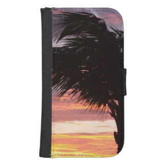 Painted Palm Sunset Galaxy S4 Wallet Case