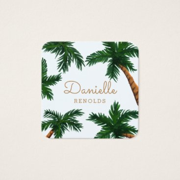 Beach Themed Painted Palm Trees Square Business Card