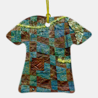 Painted Paper Weaved and Stitched Double-Sided T-Shirt Ceramic Christmas Ornament