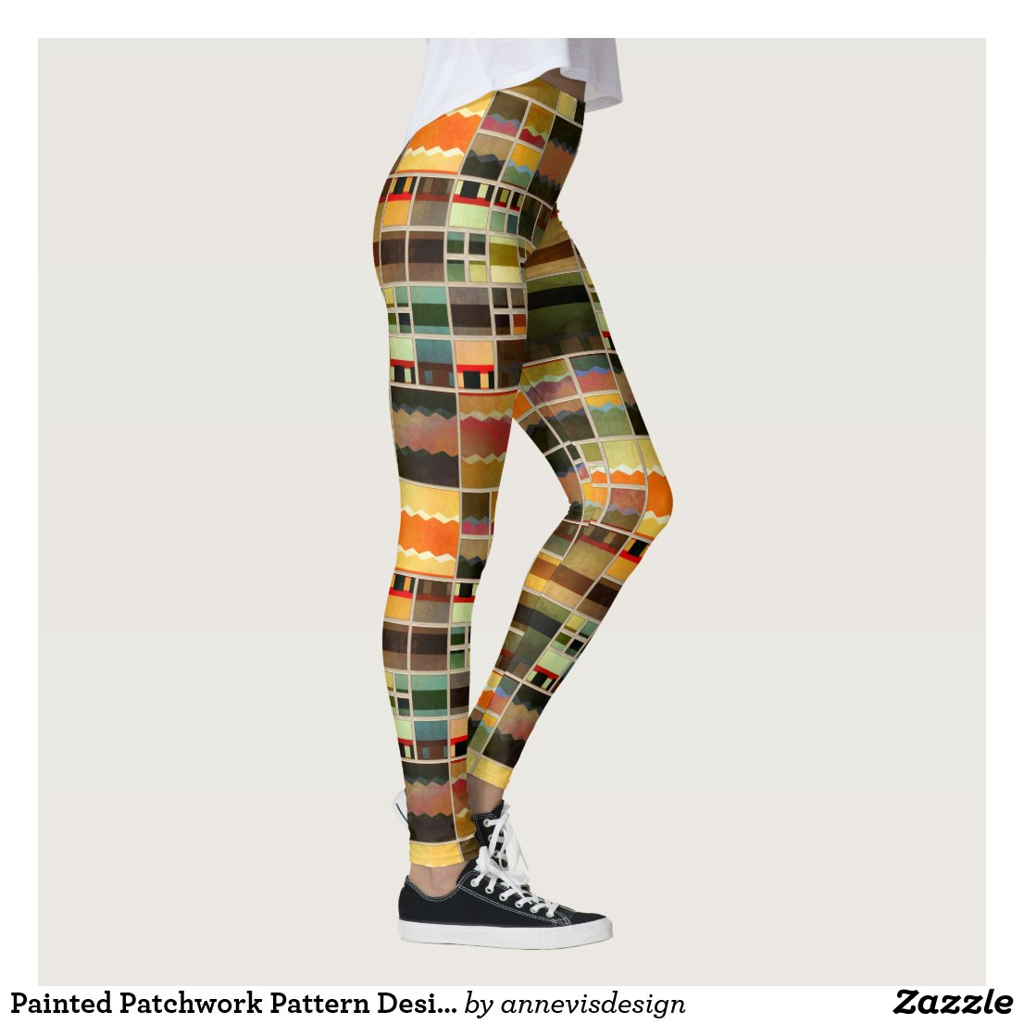 Painted Patchwork Pattern Designer Leggings