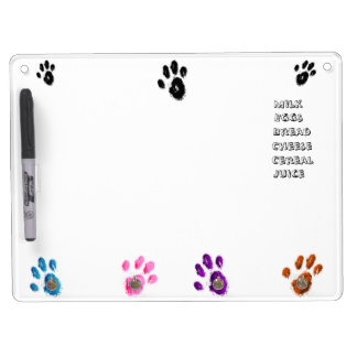 Painted Paws Dry Erase Board w/ Colored Keyholder