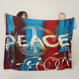 Painted peace sign fleece blanket