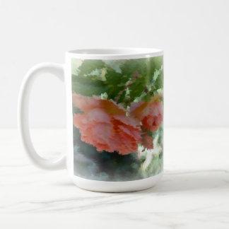 Painted Peach Roses Classic White Coffee Mug