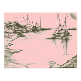 Painted Peach Safe Harbour Poster Card